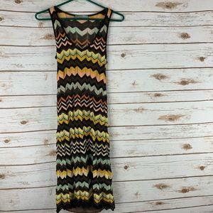 M Missoni Stripe Crochet Knit Brown Zigzag dress 6